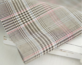 Yarn Dyed Cotton Fabric with Mix of Grey Black Sky and Pink Checker Print - Wide - By the Yard 42210