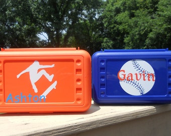 Personalized Sport Themed Pencil Box Art Box Crayon Box School Box -- Free Shipping in USA