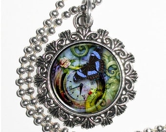 Clock & Blue Butterfly Art Pendant, Steampunk Resin Charm Necklace