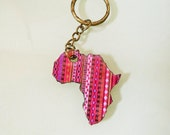 Beautiful Handmade Pink Stripe Patterned African Map Kering Charm and Keyring