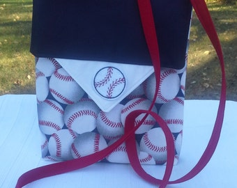 White Red Blue Baseball Cross Body Bag Electronic Carrying Case