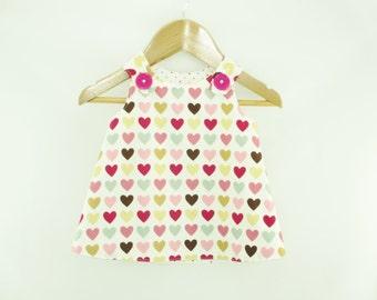 Girl dress - Pink Loveheart Aline dress - Baby girl - Toddler girl dress - size 0-3m, 3-6m, 6-12m, 12-18m, 18-24m, 2T, 3T, 4T, 5T