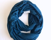 Teal Jersey Infinity Knit Scarf, Jersey Scarf, Blue Jersey infinity