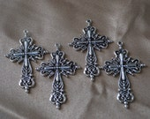 4 Pcs. of Silver Filigree Cross Pendant - Free Shipping