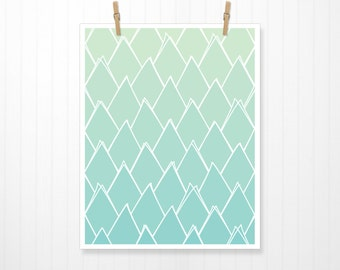 Abstract Green Triangles, Triangle, Green, Green Art, Green Print, Green Artwork, Green Poster, Triangle Print, Triangle Art, Teal, Art