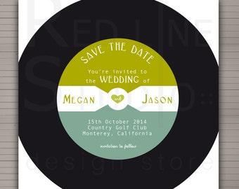 Save the date - music theme - record illustration. Printable digital file