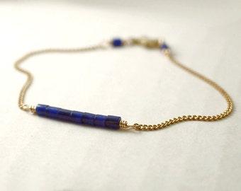 Gemstone bar bracelet - lapis lazuli beads on brass - minimalist dainty jewelry