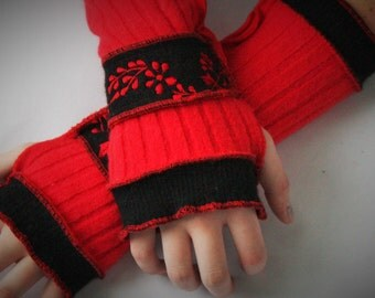 Womens accessories, Arm warmers, fingerless gloves, upcyled, recycled knits, Red and Black, gloves included