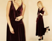 Vintage 70s 80s Royal Wine Velvet Drop Waist Elegant Hostess Maxi Dress M