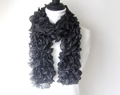 black ruffle scarf, metallic scarf, black sashay scarf, uk ruffle scarves, lightweight scarf, Winter scarf, Winter accessories, black silver