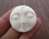 AAA Quality 30 mm Two face Moon cabochon, Bone Carving, Embellishment, Cabochon for setting B4074