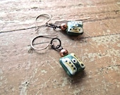 Antiqued Copper Earrings, Boho Chic Earrings, Ceramic Bead Earrings,  Urban Chic Jewelry, FREE Shipping!