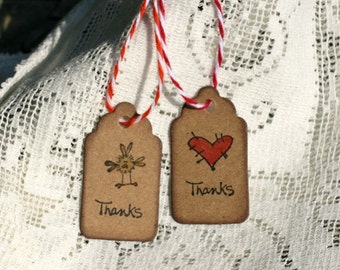 Mini Gift Tags - Set of 15 Tiny Gift Thank You  Tags - bird, heart