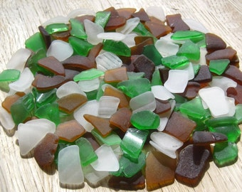 Bulk Sea Glass Green White Brown Upcycled Repurposed Craft Supplies