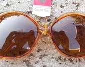Quirky Yellow Sunglasses, Vintage Sunglasses, 70's