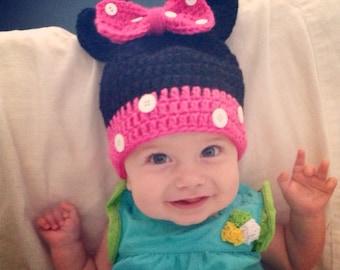 Crochet Hat- Minnie Mouse