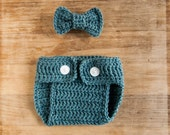 baby boy bow tie outfit, crochet baby outfit boy, bow tie and diaper cover, bow tie diaper cover, photo prop outfit, dusty blue white button