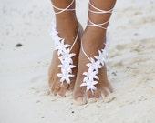 White autumn flowers Beach wedding barefoot sandals, bangle, wedding anklet