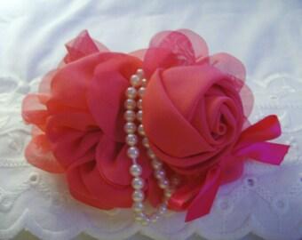 French Barrette - Hot Pink Chiffon Layered Rose with Pearls Barrette -Hot Pink Barrette - Flower Barrette - Ladies Barrette