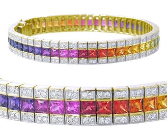 Multicolor Rainbow Sapphire & Diamond Tennis Bracelet 14K Yellow Gold (14ct tw) SKU: 1612-14K-Yg