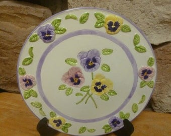 Vintage Papel China Pretty as a Pansy decorative plate wall or display