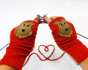 Airedale Terrier Gift. Irish Welsh Terrier Dog Lover Fingerless Gloves.