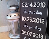 """14x11  Personalized First Date, Engagement, Wedding Day Date WOOD Sign, """"The First day, the yes day, the best day."""" Great Wedding Gift!"""