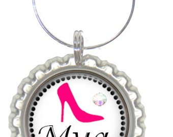 Set of 6 - PERSONALIZED WINE CHARMS - Sassy High Heels  -Swavorski Crystals -  Bachelorette Party Favors, Wedding Favor, and Parties