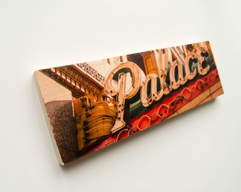 """Palace Vintage Sign Limited Edition Fine Art Photo Transfer on 10""""x30"""" Wood Panel by Patrick Lajoie"""