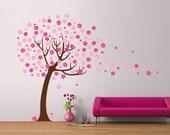 Cherry Blossom tree Blowing Vinyl Wall Sticker Life Size