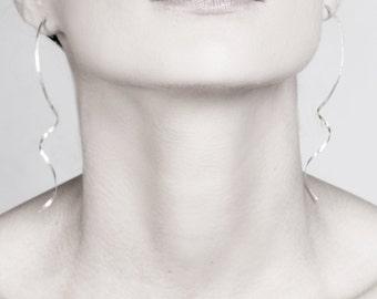 Free shipping, silver earrings, long earrings, hook earrings,