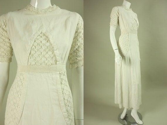 1900's EDWARDIAN LINEN DRESS Vintage White Tea-Length
