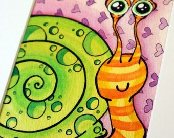 """Original Watercolor """"Stripey Snail"""", signed and matted"""