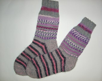SALE! Hand Knitted Wool Socks -Colorful for Women - Size Large-US W9,5/EU41