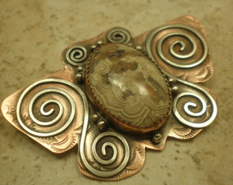 Southwestern Butterfly Brooch, Mexican Lace Agate, Sterling Silver Overlay on Copper, Southwestern Style Butterfly
