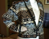 Vintage Flashback Thick Tapestry Cropped Jacket Tribal Boho Southwest Cotton jacket Size 12