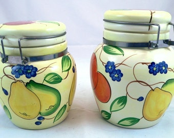 Ceramic Canisters with Hinged Tops Fruit Pattern