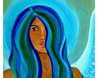 "Sapphire Angel, An Original Angel Fine Art 8 x 10 Print, Healing Angel of the Throat-Blue Angel-""Speaking Your Truth"" Modern Angel Art. Love"
