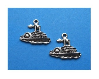 6 Mississippi Steamboat Paddle Wheel Boat Charms Atq Silver Tone Mark Twain Jewelry Supplies  21x25 mm