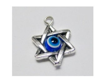 6 SPINNING EVIL EYE Charms in Star of David Bead Frames Protection Kabbalah Charm Jewelry 18x12 mm