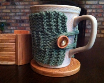 Hand knitted extra large coffee mug tea cup cozy