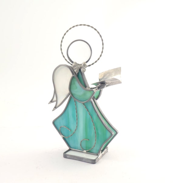 Stained Glass Angel with Songbook Green Handmade