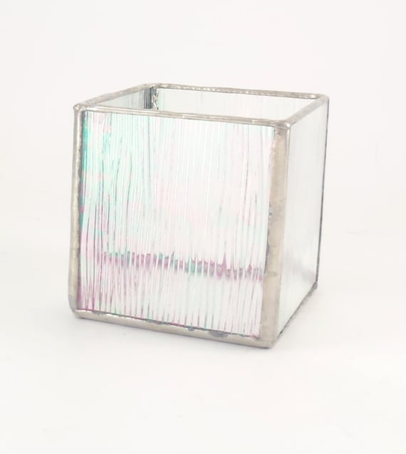 Items Similar To Iridescent Stained Glass Votive Square