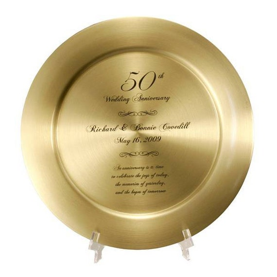 Engraved 50th wedding anniversary solid gold brass plate for Best gifts for 50th wedding anniversary