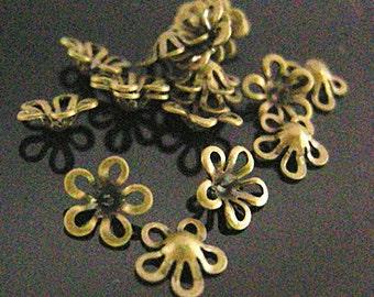 100pc 6.5mm antique bronze finish bead covers-7575