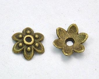 24 pc 10mm antique bronze metal bead caps-3144