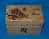 Custom Engraved Recipe Box Sunflower Wood Burned Wedding Recipe Card Box 4x6 Decorative Wedding Tree & Love Birds Bridal Shower Gift