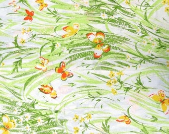 One Yard of Vintage Sheet Fabric - Orange and Yellow Butterflies