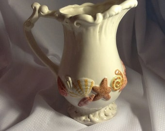 Ironstone Ceramic pitcher with Seashell Ocean Theme in Sandy Pastels