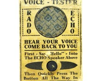 Vintage gag, prank, Voice tester, 1930's, trickery, novelty